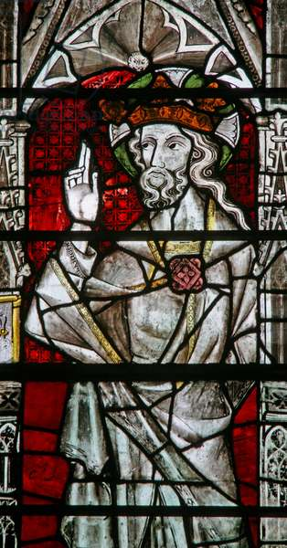 Window Ew depicting God from the Coronation of the Virgin (stained glass)
