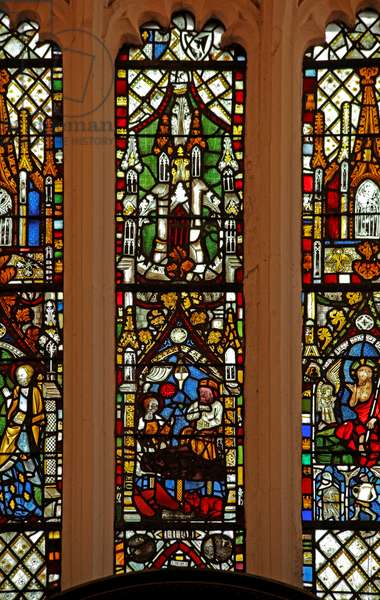 Window Ew depicting the Nativity (stained glass)