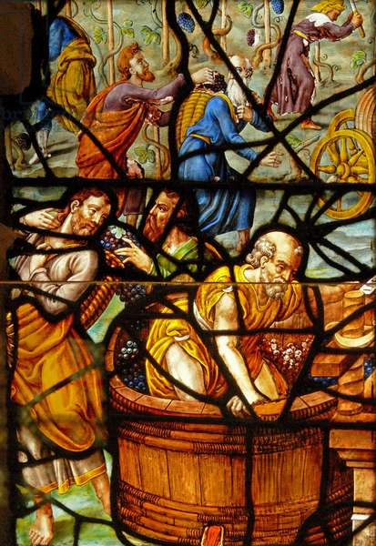 Window in the Charnier (w.11) depicting a Detail from the Mystic Wine Press (stained glass)