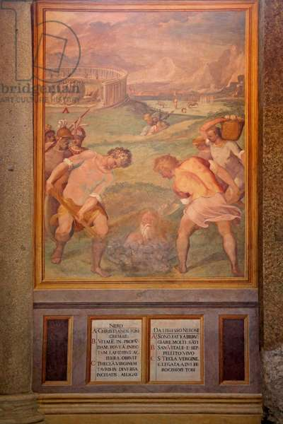 Nero orders Christian martyrdom by burying with fire (fresco)