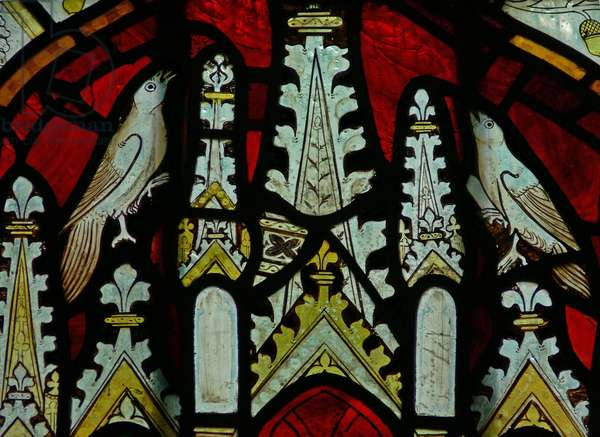 The East window (Ew) depicting a canopy with birds (stained glass)