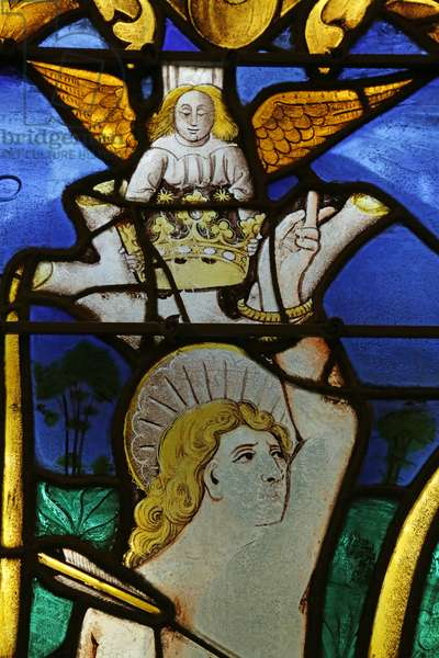Window depicting Angel placing a Crown on the Head of Saint Sebastian at his Martyrdom (stained glass)