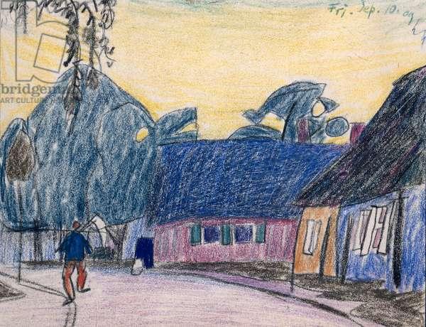 Village Scene, 1909 (coloured chalks on paper)