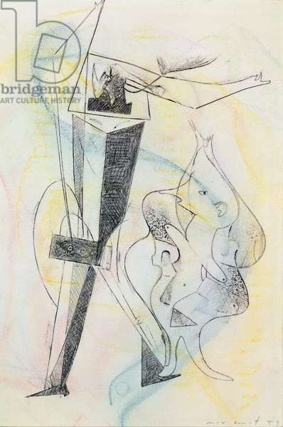 Two Figures, 1949 (pencil & crayon on paper)