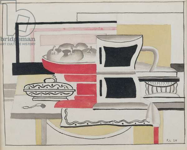 Still Life with Fruit Dish, 1925 (w/c, gouache & pencil on paper)