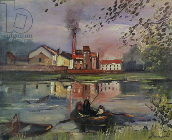 River landscape with Factory (oil on canvas)