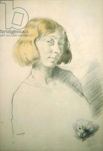 Vera Hone and her Dog, c.1912 (pencil & wash on paper)
