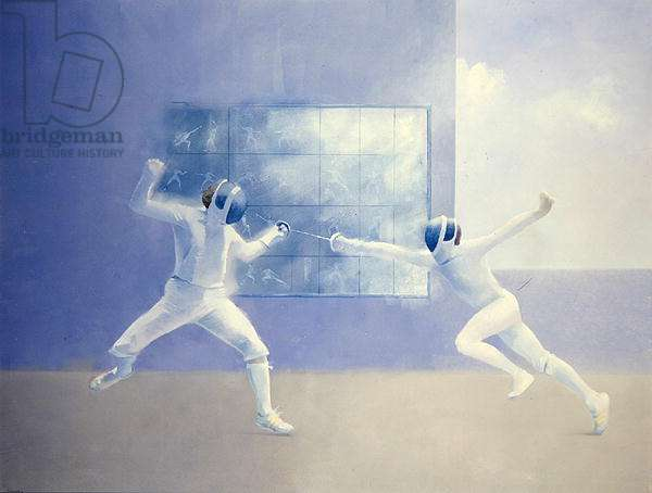 Fencers, 1985 (oil on canvas)
