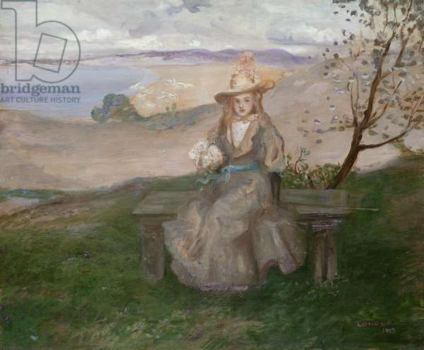 Girl with a bouquet above Swanage Bay, 1899 (oil on canvas)