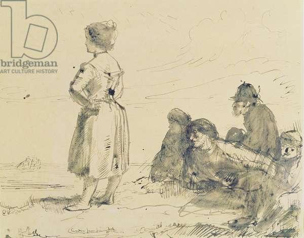The Wreckers, c.1900 (dark brown ink & brush on paper