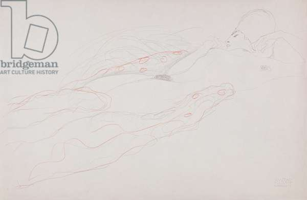 Reclining Nude (pencil & coloured chalk on paper)