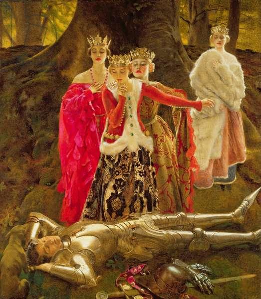Four Queens find Lancelot Sleeping, c.1910 (oil on canvas)