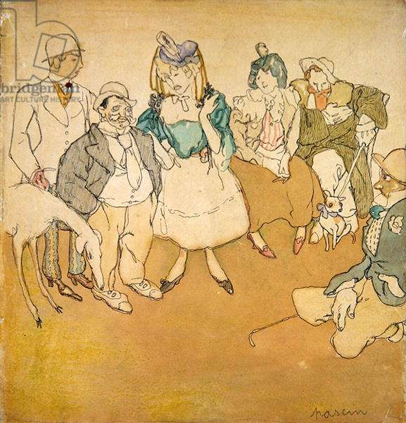 Personnages et Chiens, c.1906 (pen & ink and w/c on paper)