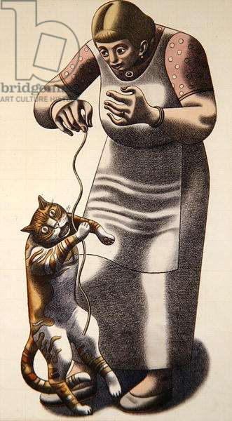 Woman and Cat, 1972 (coloured crayon on paper)