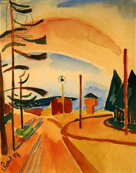 Street with Huts and Trees, 1918 (w/c on paper)