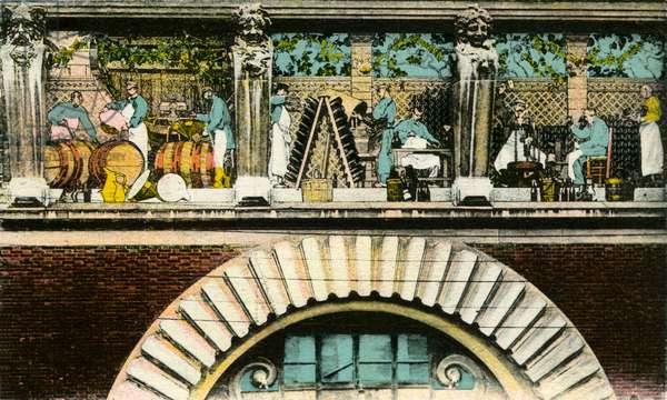 Frieze above the door representing the various stages of wine work, Reims, rue de Mars, entrance of the Maison des Champagnes Veuve Clicquot (Clicquot-Ponsardin) (colourised postcard)