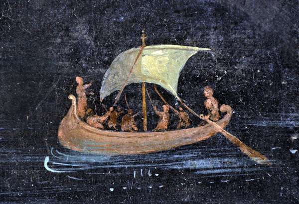 Roman art: river scene - boat and sailors on a river (river) - fragment of a Pompei fresco preserved at the Archeological Museum of Naples, Italy - Museo Archeologico Nazionale, Napoli, Italia - Photo Patrice Cartier -