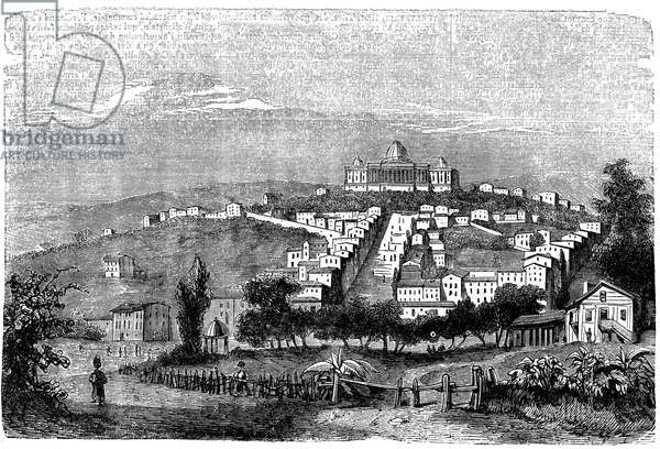 United States of America - USA - Washington City and the Capitol in the 19th century. Engraving of the Universal Dictionary, Literary Pantheon and illustrated encyclopedie by Maurice La Chatre (Lachatre), last volume of the 1853 edition.