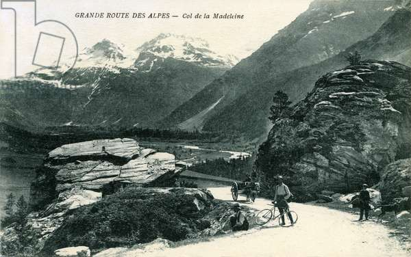 Grande route des Alpes or Route des Grandes Alpes Francaises - Col de la Madeleine - shepherd, cart and cyclists - tourist a bike - Alpine tourism by bicycle - cycling at the beginning of the 20th century - postcard sent in 1926 -