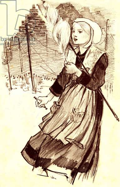 """young villager - spinner - drawing (detail) by Steinlen (1859-1923) to illustrate the song """""""" Why file tu? """""""" - late 19th century"""
