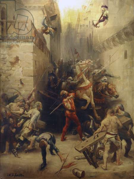 The Bag of Beziers in 1209: The inhabitants of Beziers try to prevent the entry into the city of the soldiers of the French army (crossings) commanded by Simon de Montfort (between 1164 and 1175-1218) - Crusade against the Albigeois (Cathares) - Musee du Biterrois, Beziers (, Languedoc, Occitania) -