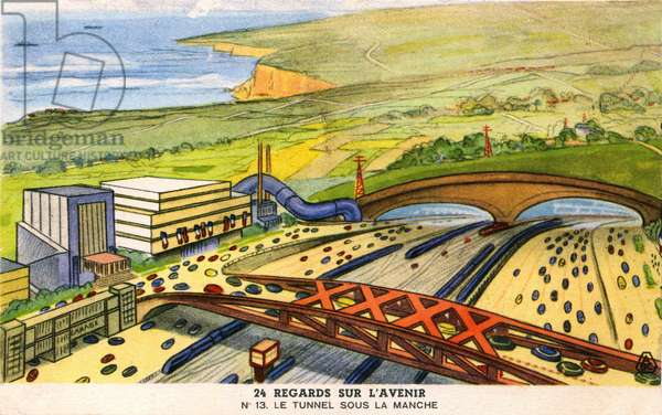 24 perspectives on the future: series of maps published in 1937 by the company Byrrh - No. 13: the Channel Tunnel.