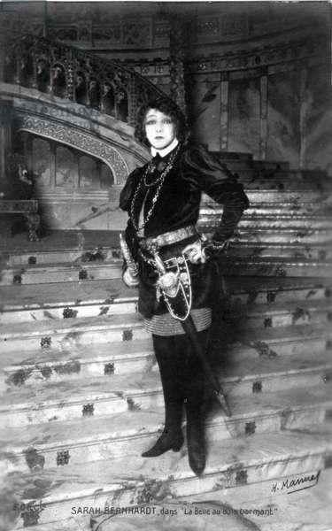 "Henriette Rosine Bernard called Sarah Bernhardt (1844-1923) in the costume of the play ""The Sleeping Beauty"""""