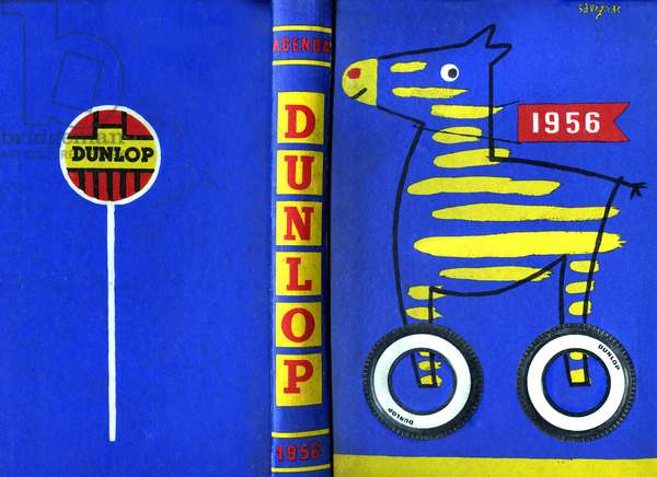 Reclaim/advertisement: unfolded cover of the 1956 Dunlop tire calendar. Illustration and graphic composition of Savignac.