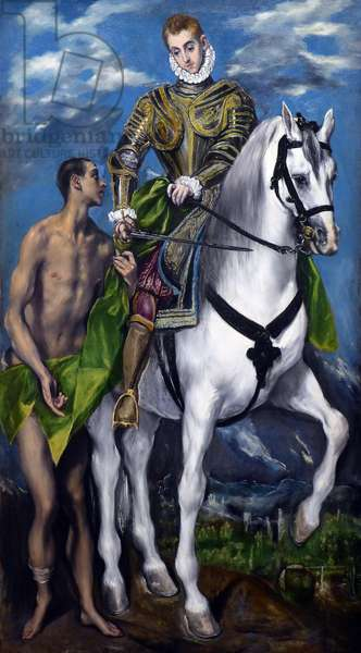 Saint Martin and the Beggar - painting by Le Greco (Domenikos Theotokopoulos) - St. Martin and the Beggar, 1597-99 (oil on canvas) by Greco, El (Domenico Theotocopuli) (1541-1614); 193.5 x 103 cm; National Gallery of Art, Washington DC, USA - photo Patrice Cartier