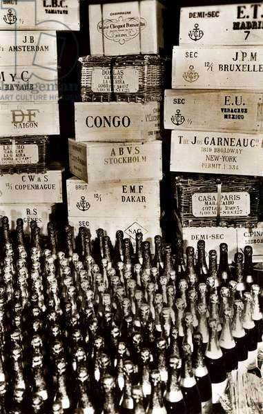 Bottles and boxes for delivery of champagne to all corners of the world, Maison des Champagnes Veuve Clicquot (Clicquot-Ponsardin), Reims, France (b/w photo)