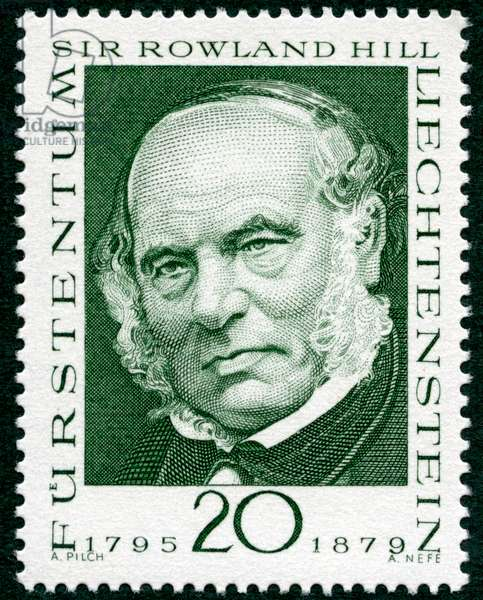 Postal history: portrait on a postage stamp (Liechtenstein postage stamp 1968) by Sir Rowland Hill (1795-1879), British teacher who initiated the postal reform of 1839 and creator of the first postage stamp Penny Black - philately -
