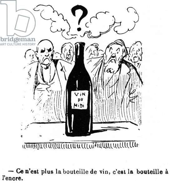 Le Midi Moves. Cartoon from the period on the revolt of the winemakers of the Midi in 1907. Georges Clemenceau and Jean Jaures in front of a bottle of wine: it is no longer the bottle of wine, it is the bottle with ink (this expression designs a situation not clear, confused)