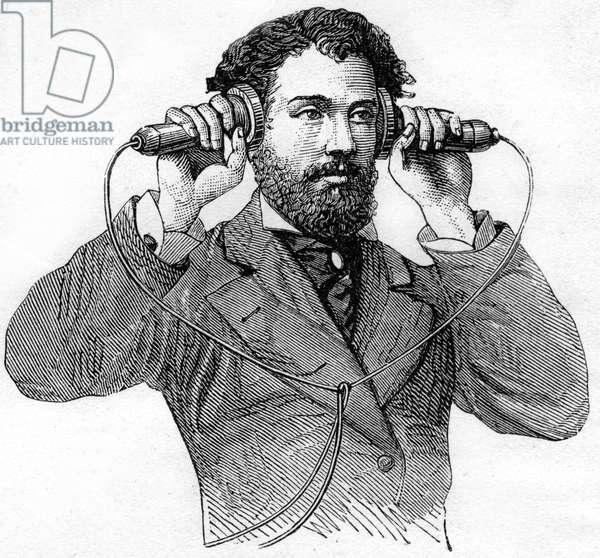 man using Graham Bell's phone: engraving, by B. Bonnafoux, of the book Le téléphone, le microphone et le phonographe, Bibliotheque des Merveilles/1880. (Figure 25)