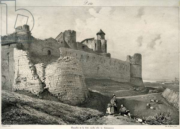 Ruined ramparts of the Cite of Carcassonne (Aude, Languedoc) before their restoration by Eugene Viollet-le-Duc (Viollet le Duc) (1814-1879), 1835 (engraving)