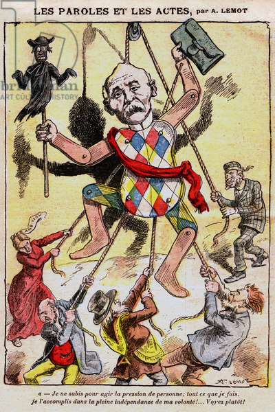 """Les paroles et les actes: caricature by Achille Lemot (1846-1909) in Le Pelerin (1909) - Representation en marionnette by Georges Clemenceau (1841-1929) - Appointed in 1906 Minister of the Interior, he himself designees himself as the """"First cop of France"""" - Nicknamed """"Le Tigre"""" or """""""" Clemensoensoy"""" (Clemen foolish), he suppresses the strikes and ends the quarrel of inventories, becoming president of the Council from 1906 to 1909 - On this cartoon, he appears as a puppet manipulated by the """"enemies of France"""""""" (Jews, English, Francs...) and waving the effigy of a cure (Catholic priest) as a scarecrow (separation of Church and state)"""