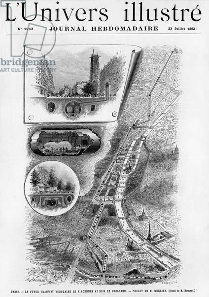 """First tubular tramway project in Paris (underground electric railway between Vincennes and Bois de Boulogne) - map of the route - cut under the rue de Rivoli showing the tunnel and the drains as well as the ventilation system, near the Saint-Jacques tower - drilling and tunnel construction - view of a station under section and elevation - engraving of A. Normand in one of the Illustrous Universe no 1948, 23 July 1892 - extrat from the text: """""""" The City Council has just adopted the project presented by Mr. Berlier... The Bastille station will be open air and will have a monumental appearance. All other stations will be underground... We see that this project reunited all the conditions for success. Who knows? Perhaps it will be the beginning of this famous Metropolitain that we have been talking about for so long and never seen - Paris metro - see also GUT8056, GUT8074 and GUT8075 -"""