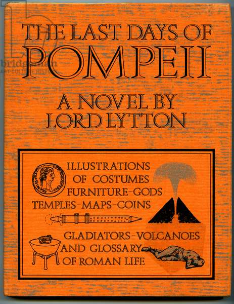 """Cover of an English edition of the book """"The last days of Pompeii - novel by Lord Edward Bulwer Lytton), edition Marshall Cavendish 1976 - eruption of the volcano Vesuve, Roman novel -"""