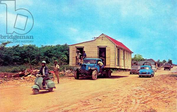 Transportation of box in Guadeloupe, between 1960-1970