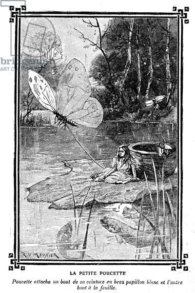 The Little Thummy. A tiny little girl sitting on a water lily pulls by a butterfly. Tale by Hans Christian Andersen (1805-1875) illustrated by R. Victor-Meunier (Victor Meunier) in a book of children's readings 1920-1930. This scene is not without evoking Alice in Wonderland by Lewis Carroll. See also GUT2183, COR7555 & FSN 1516.