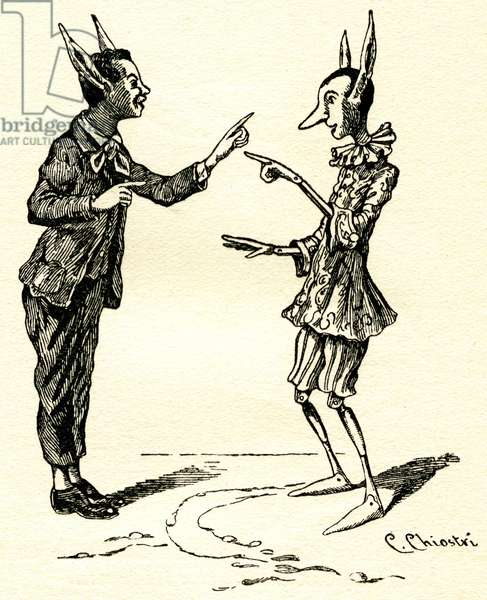 Illustration of Pinocchio by Carlo Chiostri (1863-1939), one of the first Italian illustrators of Collodi's work. The wooden puppet and his comrade Lucignolo (Lumignon) discover that they have donkey ears.