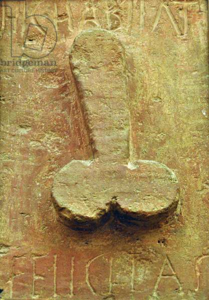"""Plaque with phallus surrounded by Latin writings """"Hic habitat felicitas"""" (Here inhabits felicite). Travertine painted in red, Low relief. From Pompei, Naples (bas-relief)"""