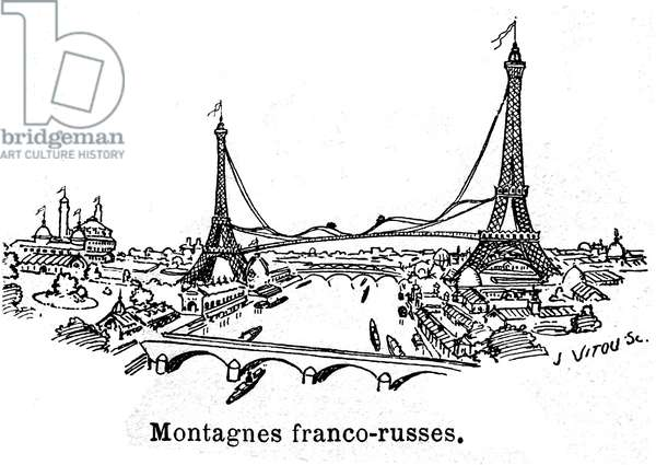A futuristic and crazy project at the end of the 19th century in Paris (France): electric French-Russian coaster - this huge attraction, which required the construction of a second Eiffel Tower, was imagined by a wacky inventor in preparation for the 1900 Universal Exhibition - it was a grandiose and festive celebration of the link between France and the Russia - a suspended bridge 100 metres above the Seine was reportedly driven by electric carts in the way of the roller coasters of the fairgrounds and amusement parks - sketch from the Annales Politiques et Litteraires 1894 -
