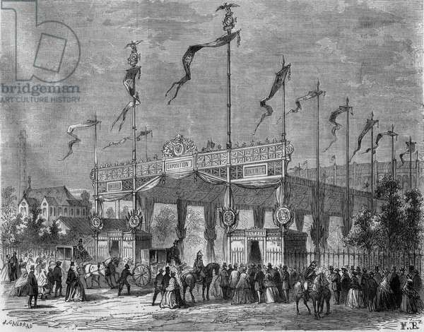 Exposition Universelle Paris 1867. Entring by the bridge of Iena. Engraving by Mr. Gaildreau