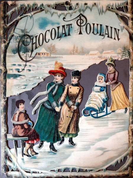 Reclamation for chocolate Poulain, late 19th, early 20th century - advertising, chromo, chromolithography - young women skating, ice skating in winter -