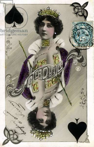 Double inverted portrait of the beautiful Otero by Reutlinger, treated like playing card (queen of spades) - postcard early 20th century.