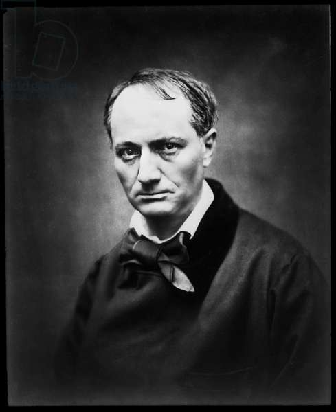 "Portrait of the poet Charles Baudelaire (1821-1867) by photographer Etienne Carjat. Original print, fonds of the photographic studio Roth & Cie. This portrait appears in the book ""Galerie des celebrites contemporaines"""", published in 1878."