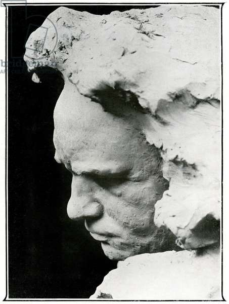 Profile face of Ludwig van Beethoven (1770-1827), detail of a bronze bust, 1905