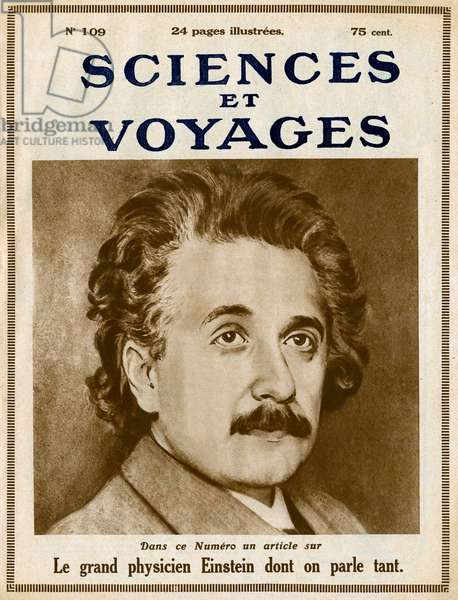 Portrait of Mathematician and Physicist Albert Einstein (1879-1955) on the cover of the journal Sciences et voyages No. 109, September 1921, (engraving)