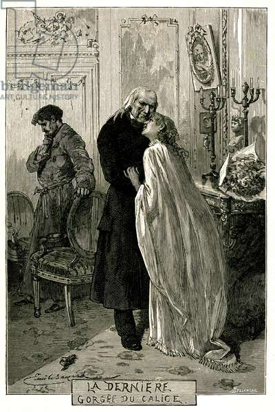 """Victor Hugo """"The Miserables"""", """"The Last Gorgee of the Chalice"""". Illustration by Emile Bayard. The former forcat Jean Valjean became old with Cosette and Marius. Engraving of the edition Ollendorff 1906."""