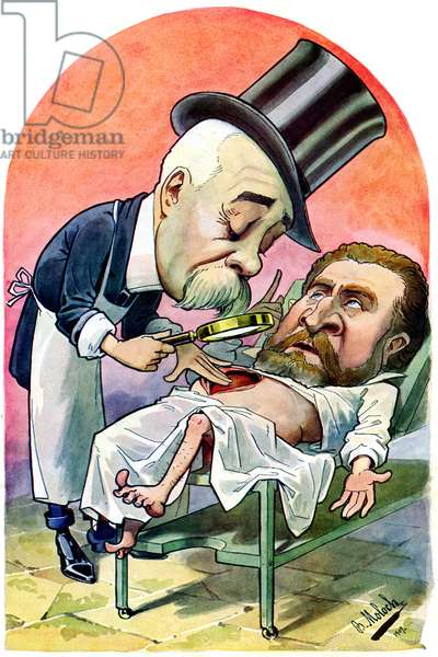Dr. Georges Clemenceau examining Jean Jaures's open belly - portrait-charge (caricature) by Moloch in the medical journal Chanteclair no. 9 of June 1907 - Clemenceau was a doctor - bowels - surgery - medicine and politics -